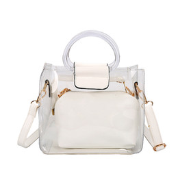 $enCountryForm.capitalKeyWord UK - Hand-held Jelly Transparent Bucket Small Square Bag Shoulder Slung Ring Portable Child Mother Bag 2019 Summer New Style