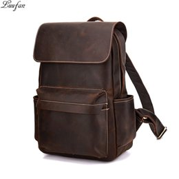 "genuine leather rucksack Australia - Vintage Crazy horse leather Men Backpack Brown genuine cowhide leather women rucksack daypack 14"" laptop bags travel bag for man Y190601"