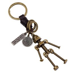 Wholesale robot couple for sale – custom New Woven PU Leather Key Chain Couple Key Chain Alloy Screw Chain Robot Pendant Key Ring