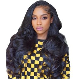 Discount sizes hair closures - 24inch Body Wave Wigs Brazilian Remy Hair Pre Plucked Lace Front Human Hair Wigs Wet and Wavy Lace Closure Wig For Black
