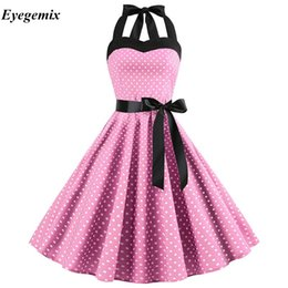 $enCountryForm.capitalKeyWord NZ - Sexy Retro White Polka Dot Dress 2019 Audrey Hepburn Vintage Halter Dress 50s 60s Gothic Pin Up Rockabilly Dress Plus Size Robe