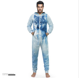 $enCountryForm.capitalKeyWord UK - Fashion 3D Wolf Printing polyester loose Catsuit Jumpsuit Onesie Animal Playsuit Bodysuit Costume Tracksuits Man Home wear