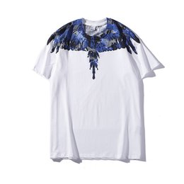 Wholesale Marcelo Burlon Mens Designer T Shirts Luxury Designer T Shirts MB Blue Wings Printed Men Women Short Sleeve Tees Size M XXL