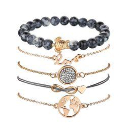 Gold Infinity Pendants Australia - Vintage Jewelry Love Bracelet Map Tortoise Round Pendant Heart Infinity Multilayer Stone Bead Bracelets Gold Chain Bracelet Set for Women