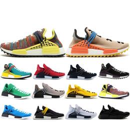Human Race Pharrell NZ - Special Offer Human Race Hu trail pharrell williams Running shoes Men Nerd black cream mens trainer women designer sports sneakers US 5-12