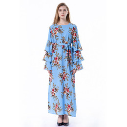 Wholesale bell sleeve dresses for sale – plus size Women Summer Flora Printed A Line Dresses Bell Long Sleeve Ankle Length Ribbon Female Dress Crew Neck M XL