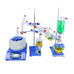 Lab Supplies Short Path Distillation Set with Cold Trap 2000 ml (Glassware & Heating Stirring Mantle Metal Stands and Clamps)