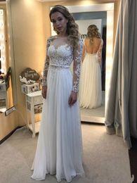 Chiffon Bateau Neckline Wedding Dress Australia - Long Sleeve Beach Wedding Dresses Chiffon Summer Bridal Gowns 2019 Floor Length Lace Sheer Neckline Wedding Dress
