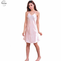 Wholesale robe dresses for women resale online - Sexy Ladies Silk Satin Night Dress Nighties Sleeveless V Neck Nightwear For Women Nightgown Plus Size Nightdress Polyester Sleepwear