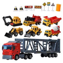 $enCountryForm.capitalKeyWord UK - Sliding Alloy Container Car Tractor with 6Pcs Small Engineering Vehicle Toys Set for Children Playing Kits