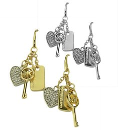 $enCountryForm.capitalKeyWord Australia - 2019 hot new products listed Europe, Japan and South Korea big fashion rhinestone letter key small lock earrings