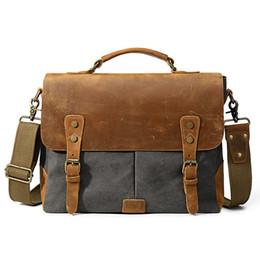 good quality Men Vintage Canvas Handbag 2019 Leather Shoulder Bag Large  Capacity Crossbody Bag Messenger Laptop Casual Tote Bag Modis e7e88056c7ea5