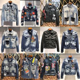 Wholesale orange denim jackets for sale - Group buy 2020 Designer Mens Denim Jackets Men Luxury Outwears High Quality Man Casual Jeans Jacket Coats Streetwear Chaqueta Hombre Size M XL