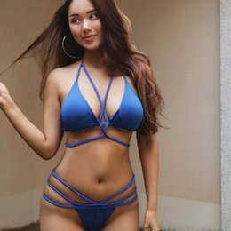 95123fbf5984c Navy Blue 2019 Europe and The United States New Hot Beach Bikini Sexy  Straps One-piece Swimsuit Multi Colors