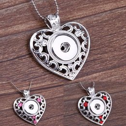 Snap Pendants NZ - 2015 New Hot NOOSA Metal Ginger Snap Button Heart Pendants Necklace with Crystal Jewelry Interchangeable Jewerly 4 Colors
