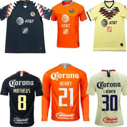 eb5cc9ca149 Mexico club america home yellow away black 3rd orange soccer Jersey 19 20  C.BLANCO D.BENEDETTO R.SAMBUEZA O.PERALTA football shirt 2019