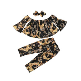 $enCountryForm.capitalKeyWord NZ - Kids Girl Clothes Off shoulder Flare Sleeve Crop Tops Long Pant Headband 3PCS Outfits Floral Clothing Set for 2-6Y Girls