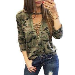 Cotton T Shirts Lace Canada - Sexy Women T-Shirts Long Sleeve Camouflage Casual Shirt Cotton Loose Lace Bandage Tops T Shirt good quality
