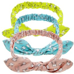 Chinese  24 Pcs Baby Bunny Print Rabbit Ears Elastic Hair Bands Headbands Toddler Kids Headwear Beautiful HuiLin DWH63 manufacturers