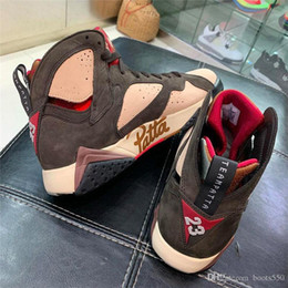 Mink Shoes Australia - 2019 Top 7S Authentic Patta x Air 7 OG SP Shimmer Retro Tough Red MAHOGANY MINK VELVET BROWN AT3375-200 Men Basketball Shoes With Box