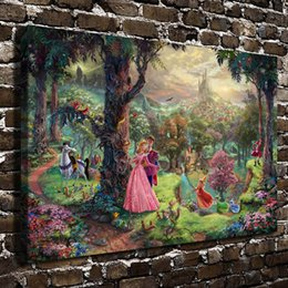 Painting sleePing online shopping - Thomas Kinkade Sleeping Beauty Canvas Prints Wall Art Oil Painting Home Decor Unframed Framed