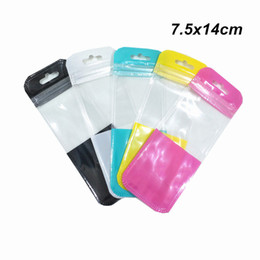 plastic package bags UK - 100Pcs 7.5x14cm Clear Colorful Plastic Zipper Packaging Bag with Hang Hole Crafts Office Supply Self Seal Pouch Data Line Pack Bag