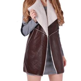 fashion winter vest woman 2019 - Nieuwe Merk 2017 Winter Vrouwen Fashion Casual Warm Faux Bontkraag Vest Lady Lange Bruin Lederen Vest Jas Bovenkleding J