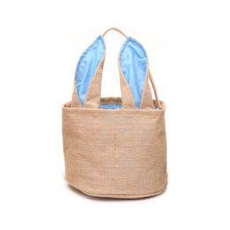 Chinese  DIY Easter Baskets Burlap Barrel Shaped Cylindric Rabbit Bags Bunny Storage Bag Jute Rabbit Ears Basket Cute Rabbit Ears Handbag Decor New manufacturers