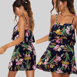 short paragraph flowers Australia - Lotus Leaf Edge Camisole Sweet Girl Wind Seaside On Vacation Sandy Beach Skirt Printing Flower Short Paragraph Dress