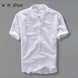 Leisure Shirt Free Shipping Australia - New High Quality leisure Linen Shirts 2019 Summer Men Fashion Style Brand Short Sleeved Shirts Men Free Shipping