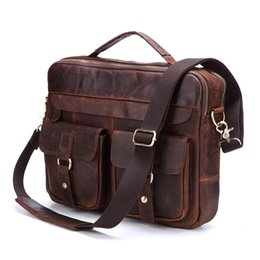 vintage ipad messenger bag UK - Nesitu Promotion Vintage Genuine Leather Men Briefcase Messenger Bags Shoulder Bag Portfolio ipad Bag for A4 Paper #M207 #483025