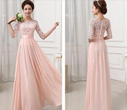 Discount plus size maxi dress xxl - 2015 Women Floor Length Pink Formal Dresses Half Sleeve Chiffon Long Evening Party Dress Prom Gown Plus Size Lace Maxi D