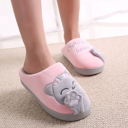 female home slippers Australia - Cute Non-slip Winter Animal Women Slippers Home Female Comfort Floor Women Shoes Cotton Ladies Indoor Slippers Plush Slipper