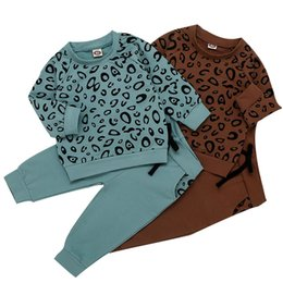 lace print shirt Australia - Infant Baby Girls Clothes Boys Leopard Print T-Shirt Sweater Coat Tops Pants Outfits Clothing For Baby roupa infantil menina