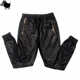 $enCountryForm.capitalKeyWord Australia - Man Si Tun New Kanye West Hip Hop Big And Tall Fashion Zippers Jogers Pant Joggers Dance Urban Clothing Mens Faux Leather Pants C19041201