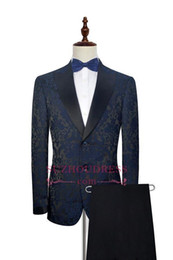 Cotton Embroidery Suits Images Australia - 2019 Ink Blue Embroidery Pattern Formal Men's Tuxedos Suits New Elegant Tuxedos For Formal Party Wear Two Pieces Suits Wedding Wear SU0007
