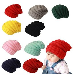 girl bobble hat Canada - Kids Baby Knitted Beanies Caps Winter Warm Hat Thick Stretchy Knit CC Beanie Hat For Children Girls Boys Bobble Hats Accessories