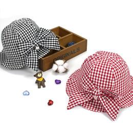 76eaaa05589 Bucket Hat Baby Australia - Ideacherry Summer Baby Girls Sun Lovely Red  Black Plaid With Bowknot