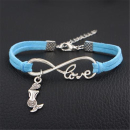 infinity jewellery Australia - New Braided Blue Leather Suede Bracelet Bangles Women Men Silver Color Infinity Love Beautiful Mermaid Armband Charm Girl Boy Gift Jewellery