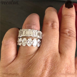 emerald cut wedding set 2019 - Vecalon Classic Promise Ring 925 sterling silver Oval Emerald cut 5ct 5A Cz Party Wedding band rings for women Bridal Je