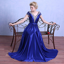Wholesale Capped V Neck Satin Evening Dresses Beaded Evening Gowns Short Sleeves Long Party Dress Black Royal Blue