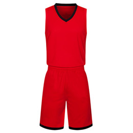 Wholesale 2019 New Blank Basketball jerseys printed logo Mens size S XXL cheap price fast shipping good quality Red Black RB011
