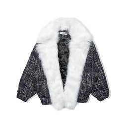 vintage denim trench coat NZ - Winter Coats Women 2020 New European Fashion Plaid Fur Coat Female Oversize Woolen Trench Coats chaquetas mujer LX2402