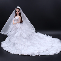 beautiful barbie doll dresses 2019 - 3d Beautiful Pupil White Tailing Will Wedding Dress Barbie Doll Gift Box A Doll Height 30 Centimeter 12 Joint