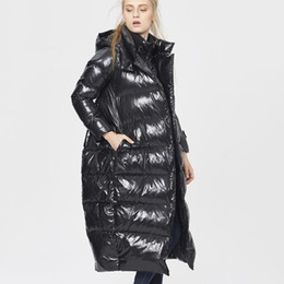 e0f3d5c08041c 5XL Size Women Winter Black Glossy Long Down Jacket 2019 New Fashion Fake  Two Piece Hooded White Duck Feather Coat Female HJ206