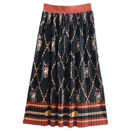 125dd87f88 2019 New Fashion Printing Midi Skirt Natural Waist European And American  Style Women's Knitted Pleated Skirt