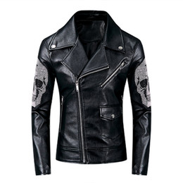 Wholesale mens leather motorcycle style jackets for sale - Group buy Punk Style Skulls Jackets Motorcycle Mens PU Leather Jacket Spring Coats Slim Fit Windbreaker Black Outerwear Overcoat New Fashion
