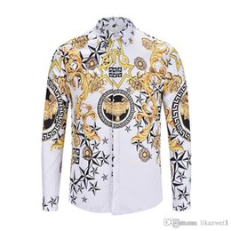 087af415df5a New Men Dress Shirts Fashion Harajuku Casual Shirt Men Luxury Medusa Gold  stripe pattern 3D Print Slim Fit Long sleeve Shirts