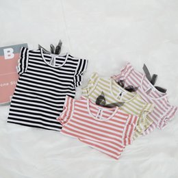 $enCountryForm.capitalKeyWord NZ - Summer Children T Shirt Fashion Baby Girls Tops Striped Ruffles Sleeve with Ribbon Bow T Shirts for Party Girls Blouse Kids Tee