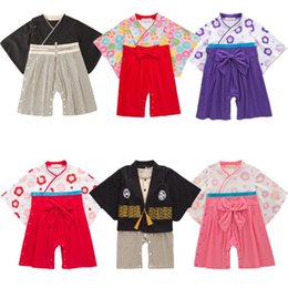 Wholesale baby kimonos resale online - Newborn Baby Girls Japanese Style Kimono Pajamas Full Sleeve Infant Boys Yukata with Bow Tie Loose Haori Harajuku Clothing Set